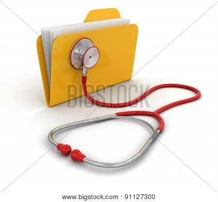 Folder and stethoscope (clipping path included)