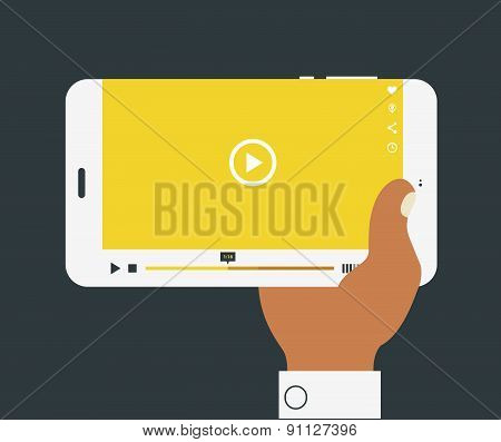 Vector illustration of hand holding mobile device with media player application
