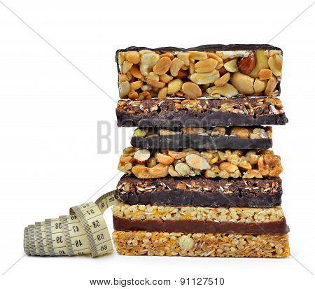 Chocolate Muesli Bars with measuring tape