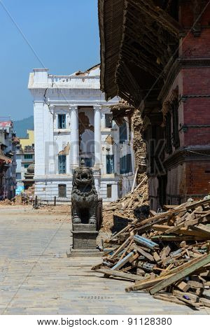 KATHMANDU, NEPAL - MAY 14, 2015: Gaddi Durbar palace on Durbar Square is severely damaged after two major earthquakes hit Nepal in the past weeks.