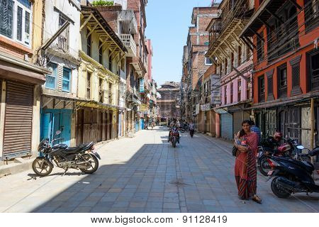 KATHMANDU, NEPAL - MAY 14, 2015: Most of the shops are closed on Freak Street after two major earthquakes hit Nepal in the past weeks.