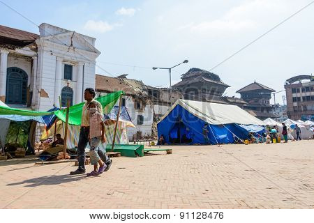KATHMANDU, NEPAL - MAY 14, 2015: A makeshift campsite is set up at Durbar Square after two major earthquakes hit Nepal in the past weeks.