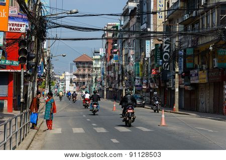 KATHMANDU, NEPAL - MAY 14, 2015: Most of the shops are closed on New Road after two earthquakes hit Nepal, one on April 25, the other on May 12.