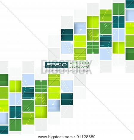 Abstract technological vector background with square pattern