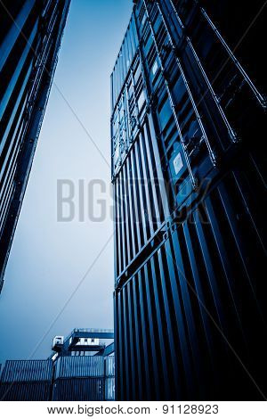 Cargo containers at harbor, shanghai china.