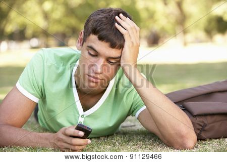 Unhappy Male Teenage Student With Mobile Phone In Park