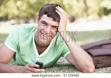 Happy Male Teenage Student With Mobile Phone In Park