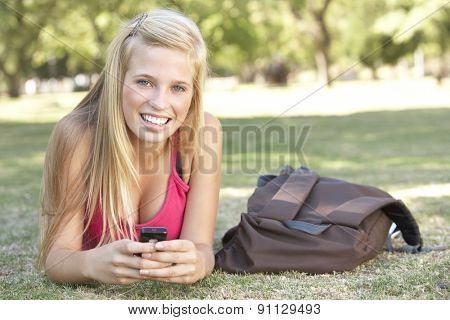 Teenage Student Texting In Park