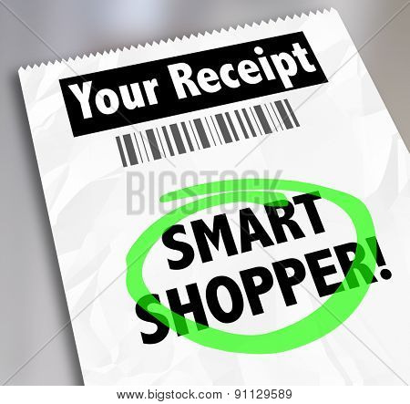 Smart Shopper words on a store receipt circled to illustrate spending money wisely