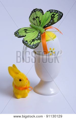 Easter egg with beautiful motive and bunny