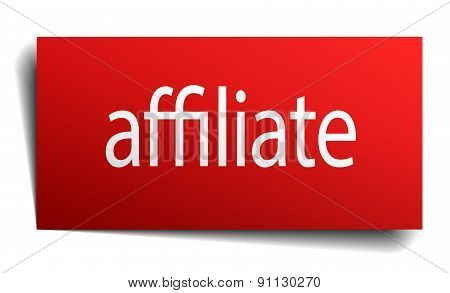 Affiliate Red Paper Sign Isolated On White