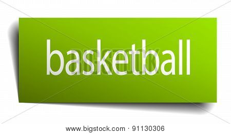 Basketball Green Paper Sign On White Background