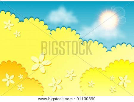 Kiddie Background For Text. Meadow Of Yellow Flowers On Blue Sky. Yellow Color