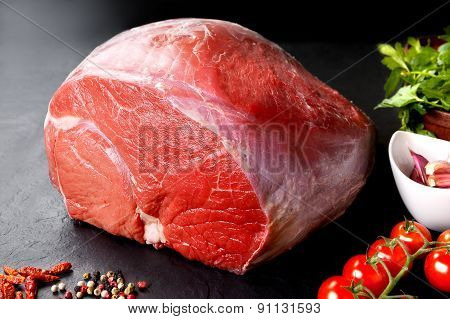 Raw meat. Uncooked fresh pork and beef. Red meat grilled barbecue grill on black background