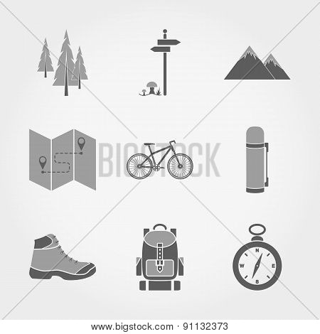 Set of Mountain camping icons.