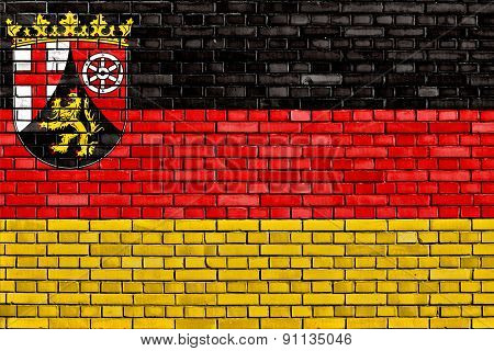 Flag Of Rhineland Palatinate Painted On Brick Wall
