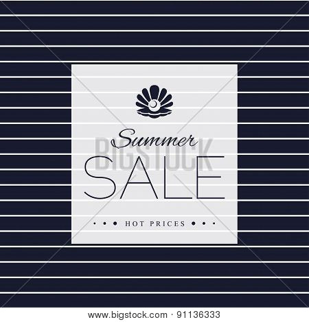 Summer Sale poster on striped background