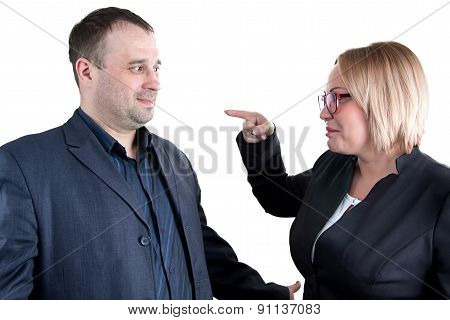 Image of boss rebukes employee