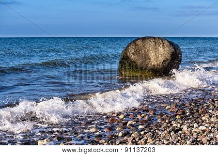 Rock On Shore Of The Baltic Sea