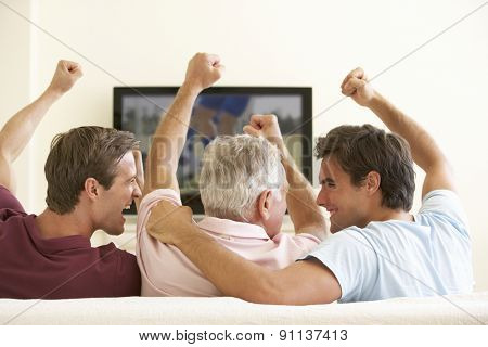Three Men Watching Widescreen TV At Home