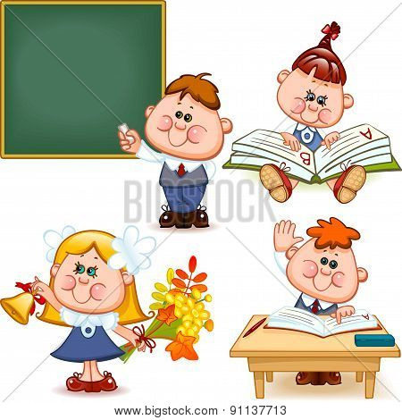 school set. Boy and girl at the blackboard at the desk reading a book teach the alphabet with flowers and a bell. Vector illustration