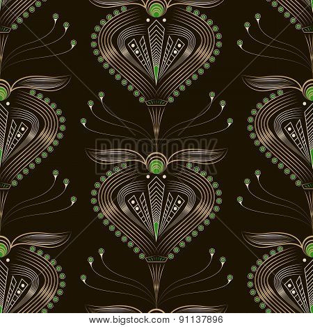 Seamless Pattern Graphic Ornament. Floral Stylish Background. Vector Repeating Texture With Stylized