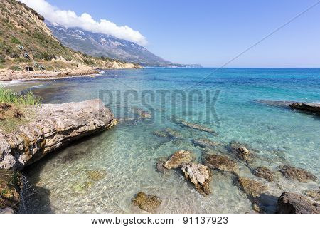 Sea coast with rocks and mountains