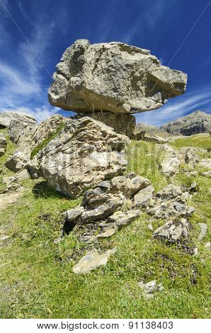 Balance rock in Ip Valley, Canfranc, Pyrenees, Huesca, Aragon, Spain.