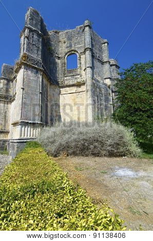 Ruins in Templar convent  of Christ, Tomar, Ribatejo, Portugal.
