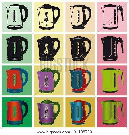 Electric Kettles. Vector Illustration