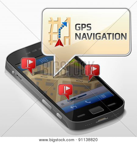 Smartphone With Message Bubble About Gps Navigation