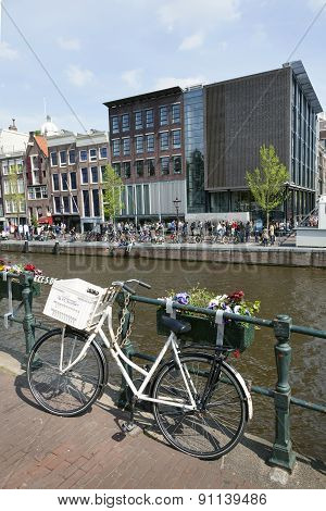 Bicycle On Prinsengracht Opposite Anne Frank House