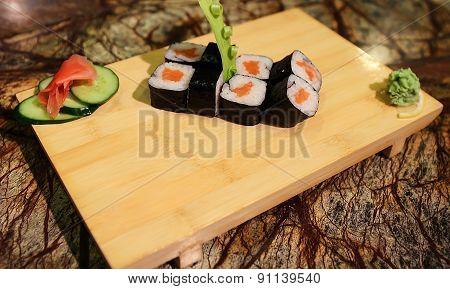 Delicious Sake maki sushi rolls
