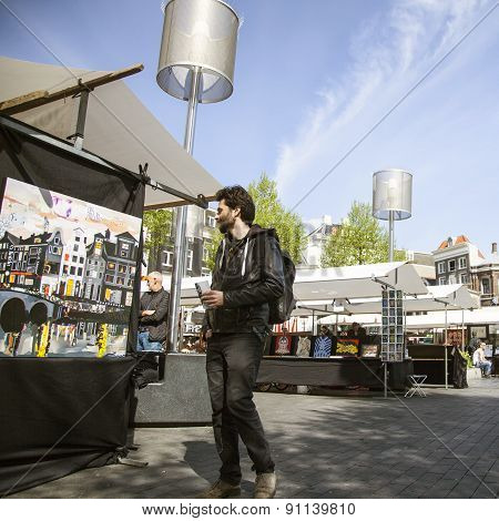 People On Amsterdam Art Market On Rembrandtplein