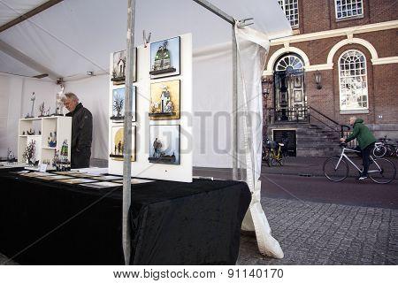Art Market On Spui Square In Centre Of Amsterdam