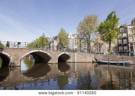 Bridge Over Canal In Centre Of Amsterdam