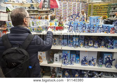 Delft Blue Windmills And Other Souvenirs In Amsterdam Shop