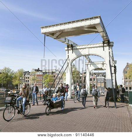 Bikes On Skinny Bridge In Amsterdam Centre