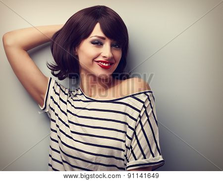 Smiling Happy Young Woman In Casual Dress Relaxing. Vintage Portrait