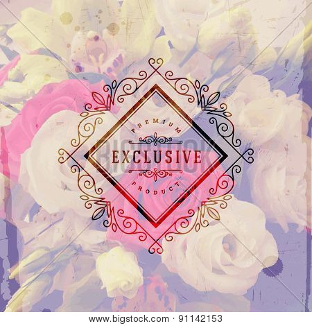 Vector illustration - Vintage logo emblem with flourishes calligraphic elegant ornament frame on a flowers background