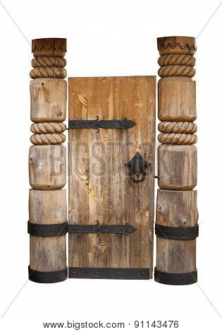 Old Wooden Door With Metal Hinges. Isolated