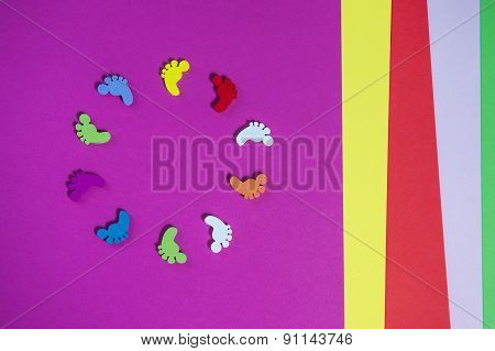 Colored Sheets Of Paper, Handmade, Footprints In A Circle