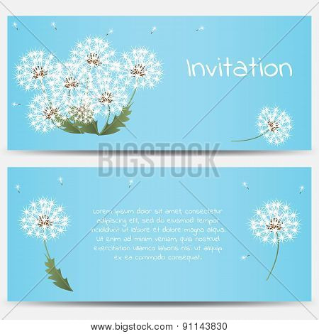 Invitation card with dandelions on blue background