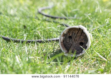 The Socket The Extender In A Grass