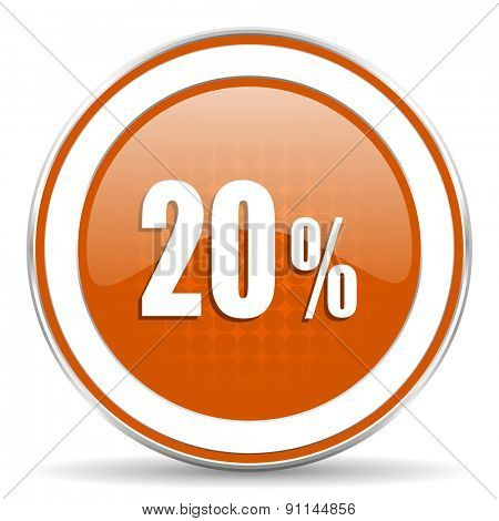 20 percent orange icon sale sign