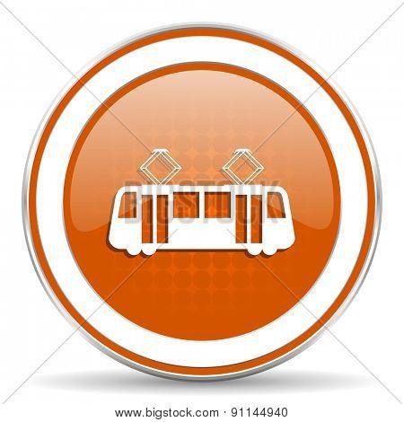 tram orange icon public transport sign