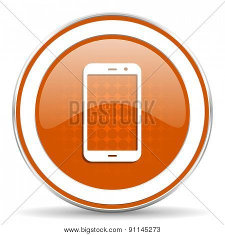 smartphone orange icon phone sign