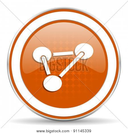chemistry orange icon molecule sign