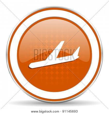 arrivals orange icon plane sign