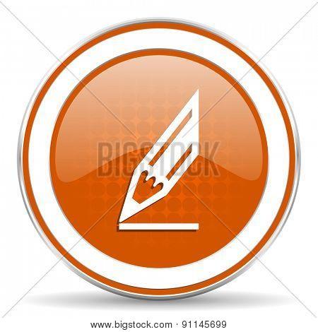 pencil orange icon draw sign